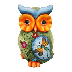 Alpine Fountains - Owl Statue w Butterfly and Front Floral Detai - Made of Magnesia. 1 Year Limited Warranty. Assembly Required. Overall Dimensions: 9 in. L x 9 in. W x 14 in. H (4.41 lbs)These birds exude an air of ornate beauty, Bring them in to your garden and let them remind all who enter of the serenity of inner peace. With their individual designs they are sure to make an excellent addition to any part of your home.