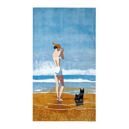 None - Girl With Dog New Yorker Beach Towel - This cotton beach towel features a stylized vintage image of a young woman standing on the beach with her small black dog. This beach towel is pure cotton for easy maintenance and features a typical summer color scheme of blue,brown,and white.