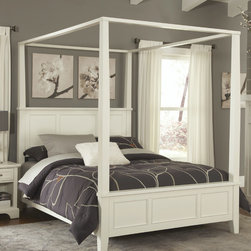 """Home Styles - Naples Canopy Bed - Unadorned details such as the straight and curved lines and slightly flared legs create the contemporary style of the Naples Canopy Bed. Features: -Slightly flared legs.-Contemporary style.-Includes raised panels on the headboard and footboard.-Hardwood solids and engineered wood construction.-White finish.-Naples collection.-Powder Coated Finish: No.-Gloss Finish: No.-Finish: White.-Frame Material: Hardwood solids and engineered wood.-Upholstered: No.-Non Toxic: Yes.-Scratch Resistant: No.-Mattress Included: No.-Box Spring Required: Yes -Boxspring Included: No..-Headboard Storage: No.-Footboard Storage: No.-Underbed Storage: No.-Slats Required: Yes -Number of Slats Required: 3.-Slats Included: Yes..-Center Support Legs: Yes.-Distressed: No.-Bed Rails Included: Yes.-Collection: Naples.-Eco-Friendly: Yes.-Recycled Content: No.-Canopy Frame: Yes -Canopy Included: No..-Jewelry Compartment: No.-Swatch Available: No.-Commercial Use: No.-Product Care: Clean with damp cloth.Specifications: -FSC Certified: Yes.-EPP Compliant: No.-CPSIA or CPSC Compliant: Yes.-CARB Compliant: Yes.-ISTA 3A Certified: Yes.Dimensions: -Overall Height - Top to Bottom (Size: Queen, King): 60.25"""".-Overall Width - Side to Side (Size: Queen): 56.5"""".-Overall Width - Side to Side (Size: King): 72.5"""".-Overall Depth - Front to Back (Size: Queen, King): 88"""".-Overall Product Weight (Size: Queen): 176 lbs.-Overall Product Weight (Size: King): 211 lbs.-Headboard Dimensions Height (Size: Queen, King): 22.75"""".-Headboard Width Side to Side (Size: Queen): 56.5"""".-Headboard Width Side to Side (Size: King): 72.5"""".-Headboard Depth Front to Back (Size: Queen, King): 2.5"""".-Shelving: No.-Drawer: No.-Cabinet: No.-Footboard Height (Size: Queen, King): 13.25"""".-Footboard Width - Side to Side (Size: Queen): 56.5"""".-Footboard Width - Side to Side (Size: King): 72.5"""".-Footboard Depth - Front to Back (Size: Queen, King): 2.5"""".-Trundle Bed: No.-Side Rail Length: 82"""".Assembly: -Assembly Required"""