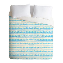 DENY Designs - DENY Designs Cori Dantini Blue Scallops Duvet Cover - Lightweight - Turn your basic, boring down comforter into the super stylish focal point of your bedroom. Our Lightweight Duvet is made from an ultra soft, lightweight woven polyester, ivory-colored top with a 100% polyester, ivory-colored bottom. They include a hidden zipper with interior corner ties to secure your comforter. It is comfy, fade-resistant, machine washable and custom printed for each and every customer. If you're looking for a heavier duvet option, be sure to check out our Luxe Duvets!