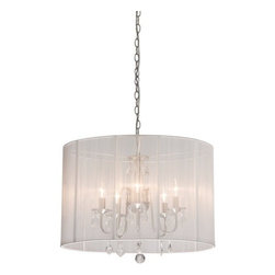 Artcraft Lighting - Artcraft Lighting AC381 Chandelier from the Claremont Collection, White - Claremont's 5 lite mini chandelier features beautifully shaped arms in polished nickel finish, elegant crystal jewels with large oval shade in white string fabrics.  Features: