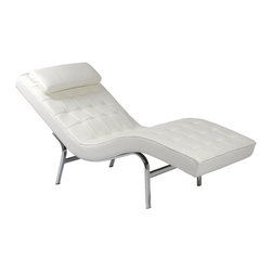 Euro Style - Valencia White Lounge Chair - Lounge about in the most modern style. This Valencia lounge chair is covered in soft white quilted leather with a flowing shape that gives it a very upscale look. Foam interior on the chair and headrest. Spare chrome finished framework keeps things light. * Chromed steel frame. Soft leather upholstery over foam cushions. 26 in. W x 61.75 in. D x 33.5 in. H. 60 lbs