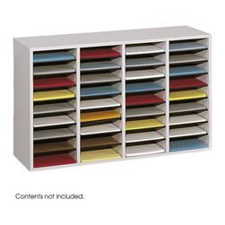 """Safco Products - Wood/Laminate Literature Sorter - Versatility and durability come together in this efficient organizer. Cabinet is 5/8"""" compressed wood with laminate finish. Strong hardboard shelves form 9w x 11 1/2d x 2 1/4h letter size compartments, adjustable in 2 1/2"""" increments to accommodate books, binders or display items. Black plastic molding complements finish and doubles as a convenient labeling area (labels included). Each hardboard shelf holds up to 15 lbs. Mix and match stackable units. Solid fiberboard back. Features: -Literature sorter type: Open front. -Color(s): Medium Oak. -Material(s): Compressed wood/laminated. -Number of compartments: 36. -Compartment: Letter. -Made in the USA. Dimensions: -24"""" H x 39.25"""" W x 11.75"""" D, 48 lbs."""