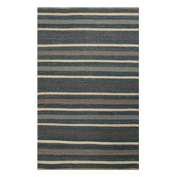 Jaipur Rugs - Naturals Textured Hemp Blue/Ivory Area Rug (8 x 10) - Natural hemp rugs and constructed to last. Striped colors add interest to any room.