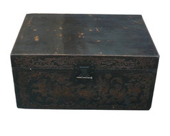 Golden Lotus - Chinese Leather Relief Ancient Phoenix Motif Trunk - This is an old Chinese wooden trunk with leather surface. The motif is outward relief with matte gold finish.