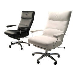 Lafer Josh Executive Chair Recliner - Executive Contemporary Office Reclining Leather Desk Chair