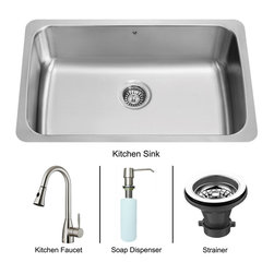 Vigo Industries - Platinum Undermount Stainless Steel Kitchen Sink with Strainer - Includes stainless steel kitchen sink, stainless steel kitchen faucet, strainer and stainless steel soap dispenser with mounting hardware