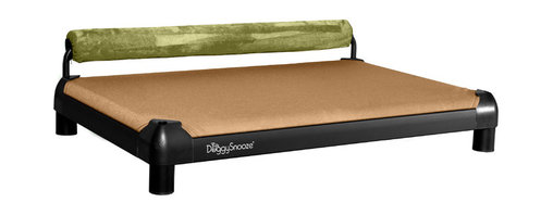 DoggySnooze - snoozeSleeper, Anodized Frame, Memory Foam, 1 Bolster Grn - It's a dog's life for pooches who get to snooze on this contemporary dog bed. Elevated for comfort with a sturdy bolster for support, this bed comes in a selection of colors to complement your home or office decor. Made in the USA and available in three sizes, with optional black anodized frame, long legs and memory foam.