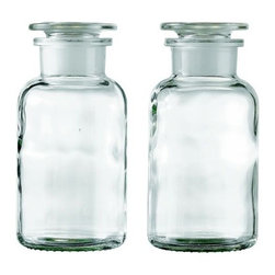 Apothecary Bottle -- Small (Set of 2) - Design Within Reach - At once vintage and modern, these glass apothecary bottles can corral Q-tips, cotton balls, and other bathroom supplies in a unifying way that cuts down on the clutter.
