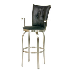 Trica - Trica Tuscany II Swivel Bar Stool with Arms - Brushed Steel, 30 Inches (Bar Heig - Trica Tuscany II Swivel Bar Stool with Arms - Brushed Steel - Trica bar stools offer a versatile and modern seating option for residential and commercial use. The stools are available in several styles, including backless, arm rest and silhouette designs, and come in a variety of metal finishes. Seat fabrics are available in over 100 colors and patterns, so you're sure to find the perfect match for your decor. The bar stools feature a heavy-gauge steel frame with durable welding joints for years of enjoyment. Trica bar stools are available in counter, bar and spectator seat heights to accommodate a variety of seating situations in the kitchen, dining room, bar or cafe.