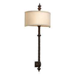Troy Lighting - Troy Lighting B2912 Umbria 2 Light ADA Compliant Flush Mount Wall Sconce - With a nod to an ancient region of the Roman Empire, the Umbria 2-Light Wall Sconce from Troy Lighting features a dramatic 28.5-inch arm crafted from hand-wrought iron topped by a smooth linen shade. Its artisanal styling brings depth and character to spaces ranging from formal foyers to master bedrooms, but its low-profile flush-mount design also makes it an excellent choice for narrow hallways. Umbria Bronze finish. ADA-compliant. Accommodates two 60-watt candelabra bulbs.The hand-forged iron arm of this wall sconce forms a dramatic contrast with the smooth linen shade.Troy Lighting B2912 Features: