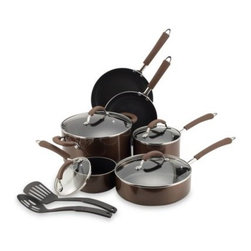 Farberware - Farberware Millennium Bronze Non-Stick Coated Porcelain Enameled Aluminum 12-Pie - Non-stick coated porcelain enameled aluminum cookware provides the benefits of non-stick with the durability of porcelain enameled aluminum. Silicone handles are double riveted securely to the pan and are comfortable to hold.
