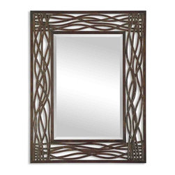 """Large Intertwined Metal Frame Wall Mirror - *Frame is made of hand forged metal finished in distressed mocha brown with black undertones and golden brown highlights. Mirror has a generous 1 1/4"""" bevel."""