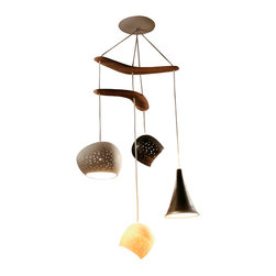 Lightexture - Clay-light Boomerang - Four Pendant Chandelier - This Juan Miro inspired, architecturally designed, ceramic four-piece chandelier hangs from two carved Australian Brigalow wood Boomerangs.