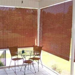Exterior Porch Shades - Contemporary and early America colored shades are woven with American Basswood staves and heavy-duty twine. They are finished in weather-proof, mildew resistant colors. Rust resistant hardware and heavy-duty cords insure easy, trouble-free operation. Exterior Porch Shades are constructed with wind cords to prevent them from flapping around in windy conditions.