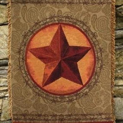 `Western Star` Green / Brown Tapestry Throw Blanket 50 Inch X 60 Inch - This multicolored woven tapestry throw blanket is a wonderful addition to your home or cabin. Made of cotton, the blanket measures 50 inches wide, 60 inches long, and has approximately 1 1/2 inches of fringe around the border. The blanket features a brown and tan Western Star against an olive green paisley print background. Care instructions are to machine wash in cold water on a delicate cycle, tumble dry on low heat, wash with dark colors separately, and do not bleach. This comfy blanket makes a great housewarming gift that is sure to be loved.