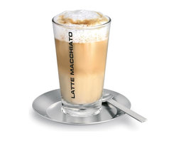 Blomus - Desa Latte Macchiato Set - Includes glass, spoon and coaster. Made of glass, silicone and stainless steel. Designed by Stotz-Design. 1-Year manufacturer's defect warranty. 3.15 in. Dia. x 6.12 in. H