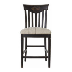 "Universal Furniture - Great Rooms Wine Barrel Counter Chair in Distressed Charcoal (Set of 2) - It's where we eat, where we work and where we play. Great Rooms, for life's great moments. Features: -Wine Barrel counter chair. -Great Rooms collection. -Charcoal finish. -Solid hardwood construction. -Fabric seat. -Splat back. -Seat height: 24"". -Assembly required. -Dimensions: 41"" Height x 20"" Width x 19"" Depth."