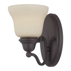 Savoy House - Yates 1-Light Sconce - The Yates collection offers an appealing traditional design, pale cream glass and a rich English bronze finish.