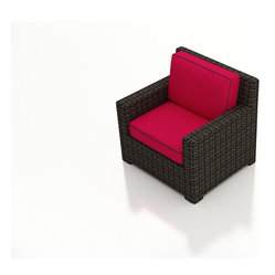 Capistrano Modern Patio Club Chair, Ruby Cushions