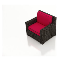 Forever Patio - Capistrano Modern Patio Club Chair, Flagship Ruby Cushions - The Forever Patio Capistrano Outdoor Rattan Club Chair with Red Sunbrella cushions (SKU FP-CAP-C-MC-FF) features broad armrests, generous seating and a contemporary design, making it a wonderful addition to any outdoor space. The mocha resin wicker is UV-protected and features dual tones that give it a more natural look, suiting a wide range of outdoor decor schemes. This club chair includes fade- and mildew-resistant Sunbrella cushions, available in a wide selection of colors. With so many options, you are sure to find that perfect look for your patio.