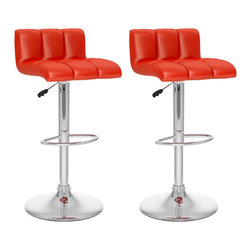Sonax - Sonax CorLiving Low Back Bar Stool in Red Leatherette (Set of 2) - Sonax - Bar Stools - B657UPD - Add spice to any bar or kitchen island with the Bar Stool featuring a comfortable foam padded seat finished with Red soft tufted leatherette upholstery. Accented with a chrome gas lift and chrome base this contemporary design will compliment any kitchen setting while offering the option to adjust to a variable bar height with ease. A great addition to any home!
