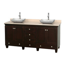 """Wyndham Collection - 72"""" Acclaim Double Vanity w/ Ivory Marble Top & Avalon White Carrera Marble Sink - Sublimely linking traditional and modern design aesthetics, and part of the exclusive Wyndham Collection Designer Series by Christopher Grubb, the Acclaim Vanity is at home in almost every bathroom decor. This solid oak vanity blends the simple lines of traditional design with modern elements like beautiful overmount sinks and brushed chrome hardware, resulting in a timeless piece of bathroom furniture. The Acclaim comes with a White Carrera or Ivory marble counter, a choice of sinks, and matching mirrors. Featuring soft close door hinges and drawer glides, you'll never hear a noisy door again! Meticulously finished with brushed chrome hardware, the attention to detail on this beautiful vanity is second to none and is sure to be envy of your friends and neighbors"""