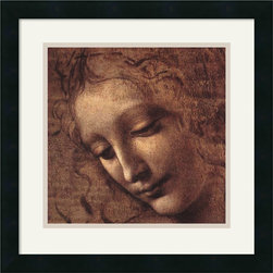 "Amanti Art - ""Testa di Faniciulla Detta (detail)"" Framed Print by Leonardo da Vinci - Intriguing as a whisper, this da Vinci drawing adds an ethereal air to your decor. The subject's beauty is equaled only by her enigmatic expression, which is sure to inspire conversation in your favorite setting."