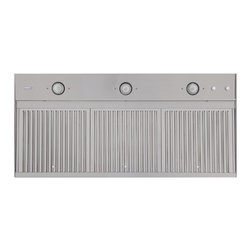 "46"" Island Range Hood Insert - Designed for everyday use and easy cleanup, this 46"" Island Range Hood Insert is made of heavy-duty stainless steel and features three removable and dishwasher-safe baffle filters."