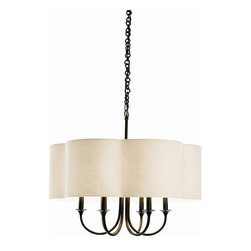 Arteriors - Rittenhouse Chandelier, Eggshell, Standard - A chandelier with a shade makes a marvelous ceiling centerpiece for your favorite formal setting. Here, sweeping arms of steel take either an antique silver or bronze finish and a scallop-edged topper.