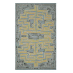 Surya - Surya Labyrinth Blue Indoor/Outdoor Polypropylene Rug, 2' x 3' - The Labyrinth collection of indoor/outdoor rugs is the perfect addition for your patio or sunroom. The cheerful graphic pattern of swirls and flowers against a solid neutral background will compliment any decor. Hand hooked from 1% polyester these sturdy pieces are on duty 24/7 to protect form the elements.  Imported.Material: 100% PolypropyleneCare Instructions: Blot Stains