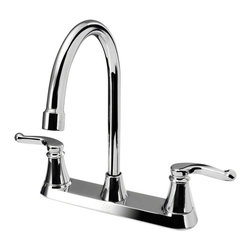MR Direct - MR Direct 7142-C Chrome Double Handle Kitchen Faucet - The 7142-C Double Handle Faucet features long smooth curves that will add a touch of class to any kitchen. The graceful handles compliment the tall curve of the swiveling spout. Available in either a chrome or brushed nickel finish this unit is tested to perform properly for the long haul. ADA approved, and backed by our limited lifetime warranty is proof that this is a quality faucet.  A matching spray hose is optional.