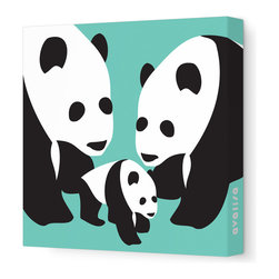"Avalisa - Animal - Three Pandas Stretched Wall Art, 28"" x 28"", Sea Green - The three bears were never like this — but then, you're no Goldilocks! This charming trio will bring clever, cool, not-too-cute appeal to any setting."