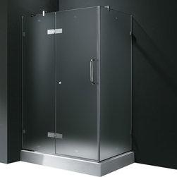 Vigo - Vigo 32 x 48 Frameless 3/8in.  Frosted/Chrome Shower Enclosure with Left Base - Update your bathroom with this uniquely stylish and totally frameless Vigo rectangular-shaped shower enclosure