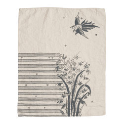 Cricket Radio - Indochine Friendship Hand Towel, Cream/Charcoal - Go ahead. Strut your stuff. This beautiful towel features a hand-printed peacock and floral on soft Italian linen in your choice of color combinations. Whether you hang it in your kitchen or bath — or use several as oversize napkins — you'll be proud to call this towel your own.