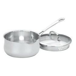 Cuisinart - Cuisinart Contour Stainless Steel 2-Quart Saucepan - Get saucy with this stainless steel saucepan, whose aluminum-encapsulated base heats up quickly, so your hungry family won't have to wait too long to chow down. Use it on your stove or in your oven. It's even freezer-safe for easy food storage. Tempered glass lid included. Dishwasher-safe. Limited lifetime warranty.