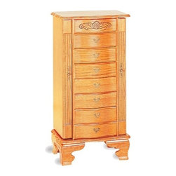 "Coaster - 38"" H Deluxe Jewelry Armoire In Light Oak Finish Wood - 38"" H Deluxe jewelry armoire in light oak finish wood, with 7 drawers and 2 side doors for necklaces, measures 19"" x 13 1/4"" x 37 1/2"" H.  Some assembly required."