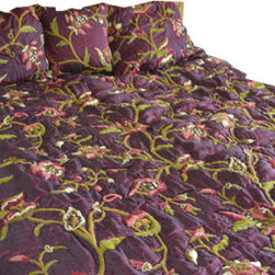 Crewel Fabric World - Crewel Bedding Wild Flower Vermilion Silk Organza Queen Quilt - Artisans in a remote mountain village in Kashmir crewel stitch these blossoms, vines and leaves by hand, resulting in a lush pattern of richly shaded wool yarns on Linen, Cotton, Velvet and Silk.