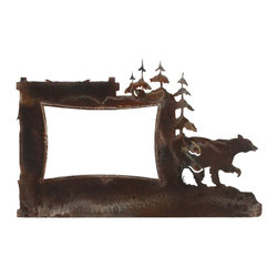 Ironwood - Rustic Iron Picture Frame Bear and Pine Tree, 4x6 Metal Frame - Beautiful  rustic  frames  with  all  the  character  and  appeal  of  wrought  iron.  This  unique  iron  picture  frame  features  a  bear  and  pine  tree  motif  and  holds  any  4x6  photo.  Hand-applied  rust  patina.  Tabletop  display  only.