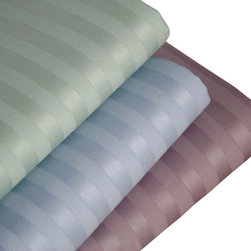 Luxor Linens - Caterina Stripe Pillow Case Set, Standard, Lavender - The feeling of luxury is in every inch of these exclusive Luxor Linens 600 thread count  Cases. 100% Egyptian cotton sateen is heightened by the fabrics sateen stripe so intricate, every line and swirl and curve of it is synchronized like a symphony.