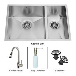 Vigo Industries - Undermount Stainless Sink, Faucet and Dispenser - Vigo delivers top quality and unique design. Every detail is important. Sink is manufactured with 16 gauge premium 304 series stainless steel construction. Fully undercoated and padded with unique multi layer sound eliminating technology which also prevents condensation. Commercial grade premium scratch resistant satin finish.
