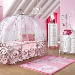 Disney Princess Metal Twin Bedroom Collection - Every girl deserves a carriage to take her off to dreamland.
