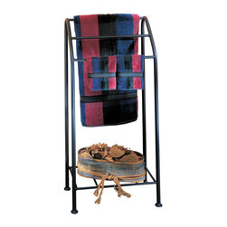 Metal Creations - Harmon Quilt Rack - 900230 - Shop for Caddies and Stands from Hayneedle.com! The Harmon Quilt Rack is the perfect way to show off your heirloom quilts. A durable accent piece this quilt rack features three display bars and a handy bottom shelf for extra storage. The Harmon Quilt Rack is constructed of natural black wrought iron and handmade in the U.S. by expert blacksmiths. Ideal for sturdy quilt display in any room it also makes a perfect towel rack in the bathroom.
