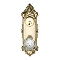 "Renovators Supply - Door Knobs Bright Solid Brass Victorian Door Knob Lock Set | 20929 - Entrance Set: Glass knob and solid brass authentic period details. Victorian glass diamond entrance set is 7 3/4"" long x 2 3/4"" wide with a 2 7/8"" projection and a 2 1/2"" diameter knob. They have a 2 3/8"" backset latchset. Polished and lacquered. Double lockset deadbolt for interior and exterior- (no inside turn knob)."
