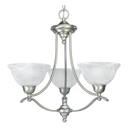 """Progress Lighting - Avalon Three Light Single Tier Up Lighting Chandeliers - Progress Lighting P4067 Avalon 3 Light Chandelier Three-light chandelier with Swirled Alabaster Glass. ,. This Progress Lighting item is offered in brushed nickel. Requires three 100-watt frosted incandescent bulbs. Part of the Avalon collection. Swirled Alabaster glass. Wire rope accents. Includes 6' of 9 gauge matching chain. Mounting strap for box included. Canopy diameter: 5"""". Includes 15' of wire. Medium base ceramic sockets. Threaded socket ring secures glass. Pre-wired. UL-CUL Listed. Number of Bulbs: 3. Bulb Base: Medium (E26). Bulb Type: Incandescent or Fluorescent. Bulb Included: No. Watts Per Bulb: 100. Wattage: 300. Dimmable: Yes. Height: 21.5"""". Diameter: 21.88"""". Canopy Length: 5"""". Canopy Width: 5""""."""