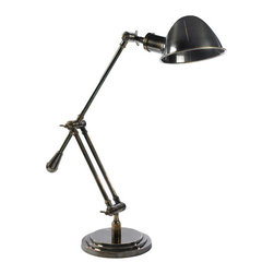 "Inviting Home - 1930s Desk Lamp - 1930s style adjustable desk lamp 20"" x 8-1/2"" x 27""H A desk lamp for town and country. These desk lamp has universal appeal in a style going back to the 1930s. Its natural flair combines well with its utilitarian design and illuminating purpose. Lamp is tightly jointed easy to adjust and lock. Solidly constructed in brass. This desk lamp is built to last..."