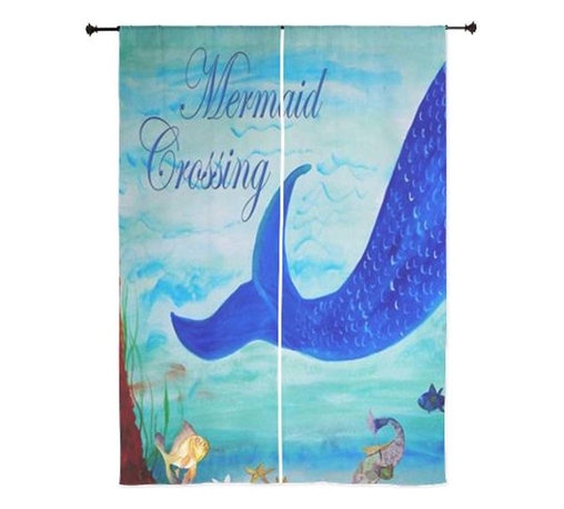 """xmarc - Mermaid Art Sheer Curtains, 30"""" X 84"""", Mermaid Crossing - The windows have it with these sheer, beach decorative curtains. Romantic and flowing, these elegant chiffon window treatments finish a room with the perfect statement."""
