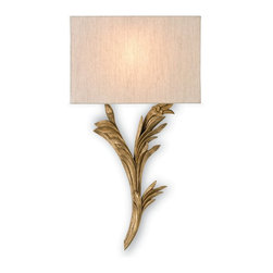 Currey & Company - Currey & Company Bell Esprit Wall Sconce CC-509, Right - Looking good but slimmed down for action, the newest collection of wall sconces from Currey & Company is designed to be compliant with Americans with Disabilities Act. The design team has created a wall sconce collection that reflects the unique Currey & Company point of view. Hand-applied finishes, natural materials and high quality fabrics are used to create a decorative, yet functional collection.