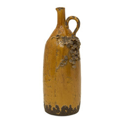 iMax - iMax Italia Pitcher Vase X-90105 - The delightful antique Italian design of this pitcher vase lends a Tuscan flair to any d&#233:cor with its warm butternut hue and classic grape accents.