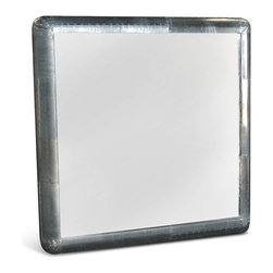 Kathy Kuo Home - Yeager Aviator Industrial Loft Stainless Steel Square Wall Mirror - Prepare for take-off every morning in front of this square, stainless steel masterpiece of a mirror. The metallic finish holds hundreds of hand-drilled screws, adding decorative detail to this Industrial Loft piece, perfect for a bathroom, guest room or anywhere you require a reflection of your good taste.